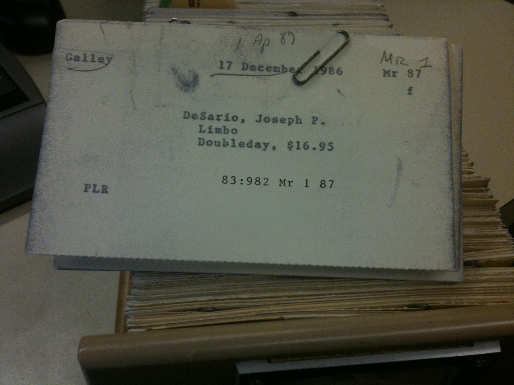 Limbo filing card